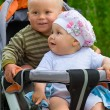 Two babies in children stroller — Stock Photo #1033217