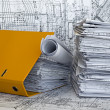 Heap of project drawings - Stock Photo