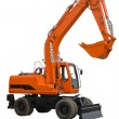 Royalty-Free Stock Photo: Orange wheel excavator with bucket beam