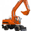 Stock Photo: Orange wheel excavator with bucket beam