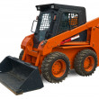 Orange mini wheel excavator - Stock Photo