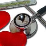 Medicine still life: stethoscope, clinic — Stock Photo