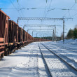 Stock Photo: Freight train with wagons