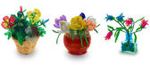 Tree vases with flowers from beads — Stock Photo