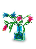 Vase with flowers from glass beads — Stock Photo