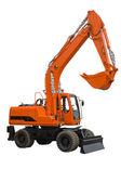 Orange wheel excavator with bucket beam — Stock Photo