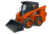 Orange mini wheel excavator — Stock Photo