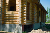 Wooden coner of house under construction — Stock Photo