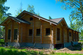 Wooden house construction — Stock Photo