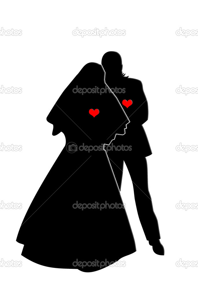 Black shape of loving couple with red hearts. Man and woman who are engaged to be married. — Stock Photo #1043860