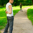 Loving couple having a date in park — Stock Photo