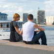 Stock Photo: Loving couple near the cruise lainers