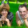 Royalty-Free Stock Photo: Teens on grass