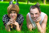 Teens on grass — Stock Photo