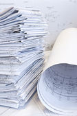 Stack of design drawings — Stock Photo