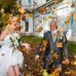 Newlywed couple in autumn park — Stock fotografie