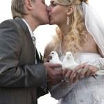 Happy young newlywed couple — Stock Photo