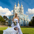 Beautiful bride about church — Stock Photo #1243591