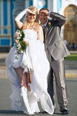 Happy young newlywed couple — Stock Photo