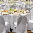Wedding white reception place is ready - Stock Photo