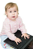 Cute baby working on computer — Stock Photo