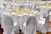 Wedding white reception place is ready — Stock Photo