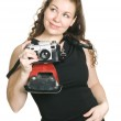 Young woman with ancient camera — Stock Photo #1670771
