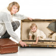Middle age woman playing with child — Stock Photo