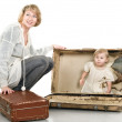Middle age mother playing with baby — Stock Photo
