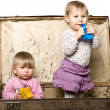 Stock Photo: Two little babies in sutcase.