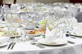 Formal dinner service as at a wedding — Stock Photo