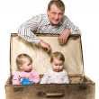 Yappy young father and little children — Stock Photo