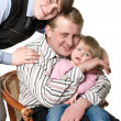 Stock Photo: Portrait of happy father with children