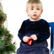 Little girl near the Christmas tree — Foto de Stock