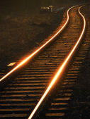 Rails coiling a zigzag — Stock Photo
