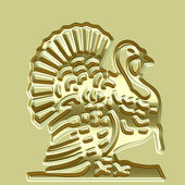 Golden turkey plate — Stock Photo