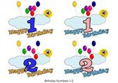 Birthday numbers 1-2 — Stock Vector