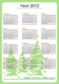 Green world calendar 2010 — Stock Vector