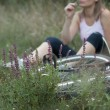 Young female woman bike relax — Stock Photo #1033104