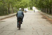 Old person riding through the park — Stock Photo