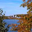 Kind on autumn village located lake — Stock Photo #1081761