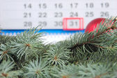 Fur-tree branches against a calendar — Stock Photo