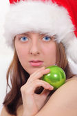 Nice girl in red cap with green ball — Stock Photo