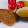 Black bread with honey and apples - Stock Photo