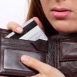 Purse with a bank card - Stock Photo