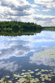Sky reflexion in a water smooth surface — Stock Photo