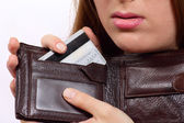 Purse with a bank card — Stock Photo