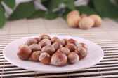 Wood nuts in a plate — Stock Photo