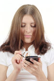 Nice girl with an electronic organizer — Stock Photo
