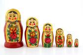 Matreshka 6 dolls on white background — Stock Photo